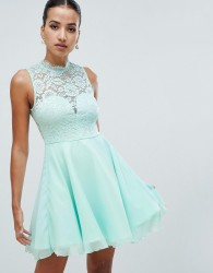 AX Paris skater dress with lace insert - Green