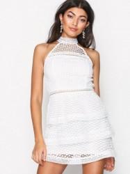 Ax Paris Turtle Neck Frill Dress Kropsnære kjoler White