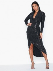 Ax Paris V Neck Long Sleeve Glitter Midi Dress Pailletkjoler