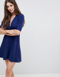 Ax Paris Wrap Front 3/4 Sleeve Dress - Navy