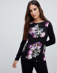 B By Ted Baker Sunlit Floral Jersey Long Sleeve Pyjama Top - Black