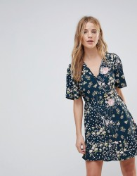 Band Of Gypsies Floral Wrap Dress - Multi