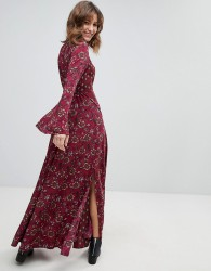 Band Of Gypsies Retro Bell Sleeve Maxi Dress - Multi