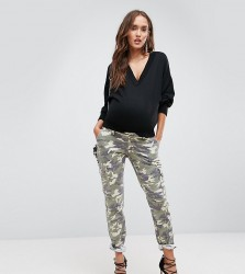 Bandia Maternity Over The Bump Cargo Pants With Removable Waistband - Beige