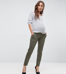 Bandia Maternity Over The Bump Cargo Pants With Removable Waistband - Green