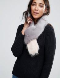 Bandits Premium Faux Fur Cross Through Scarf - Grey
