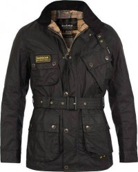 Barbour International Slim Wax Jacket Black men L Sort