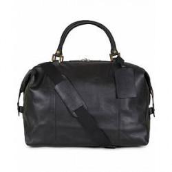 Barbour Lifestyle Leather Medium Travel Explorer Black