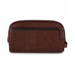 Barbour Lifestyle Leather Wash Bag Dark Brown