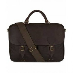 Barbour Lifestyle Wax Leather Briefcase Olive