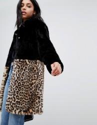 Barney's Originals leopard print colourblock faux fur coat - Black