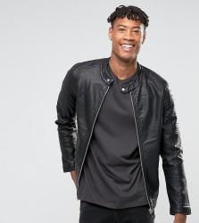 Barney's Originals TALL Faux Leather Ribbed Biker Jacket - Black