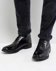 Base London Clapham Leather Hi Shine Military Boots In Black - Black