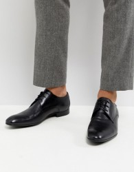 Base London Elgar Leather Derby Shoes in Black - Black