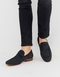 Base London Fleming embossed loafer in navy suede - Navy