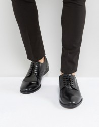 Base London Ford Leather Derby Shoes In Black - Black