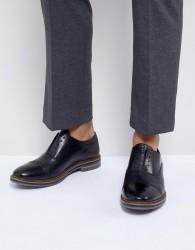 Base London Harvey Leather Laceless Oxford Shoes in Black - Black