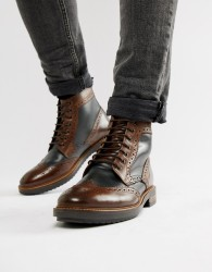 Base London Hopkins brogue boots in brown - Brown
