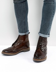 Base London Hurst Leather Brogue Boots In Brown - Brown