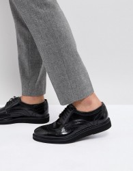 Base London Orion Hi Shine Brogue Shoes in Black - Black