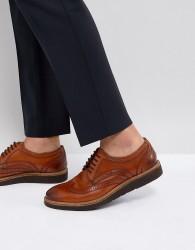 Base London Orion Hi Shine Brogue Shoes in Tan - Tan