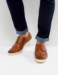 Base London Perform Brogue Leather Shoes In Tan - Tan