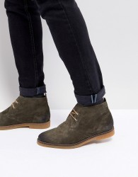 Base London Perry Suede Desert Boots in Olive - Green