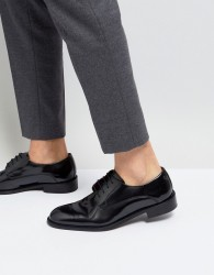Base London Rexley Hi Shine Derby Shoes in Black - Black