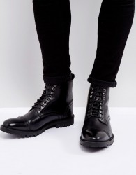 Base London Siege Leather Lace Up Boots In Black - Black