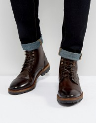 Base London Siege Leather Lace Up Boots In Brown - Brown