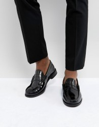Base London Strike Hi Shine Leather Loafers - Black
