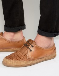 Base London Tent Woven Leather Derby Shoes - Tan