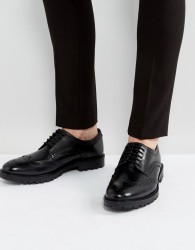 Base London Trench Leather Brogue Shoes In Black - Black