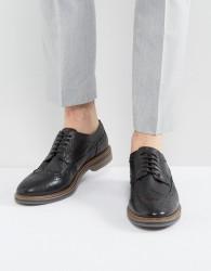 Base London Turner Leather Brogue Shoes - Black