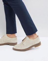 Base London Turner Suede Brogue Shoes in Beige - Beige