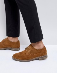 Base London Turner Suede Brogue Shoes in Tan - Tan