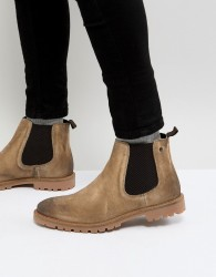 Base London Turret Suede Chelsea Boots in Stone - Stone