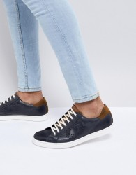 Base London Wafer Leather Trainers in Navy - Navy