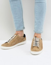 Base London Wafer Suede Trainers in Stone - Stone