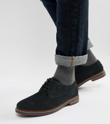 Base London Wide Fit Blake derby shoes in navy suede - Navy