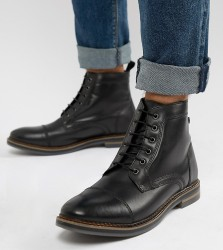 Base London Wide Fit Hockney lace up boots in black - Black