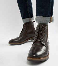 Base London Wide Fit Hockney lace up boots in brown - Brown