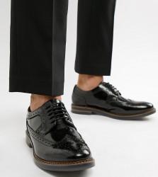 Base London Wide Fit Turner brogues in high shine black - Black