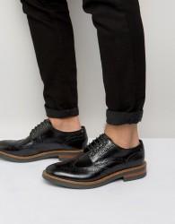 Base London Woburn Hi-Shine Leather Brogues - Black
