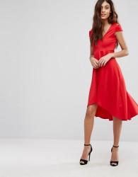 Be Jealous Skater Prom Midi Dress With Hi Lo Hem - Red