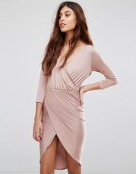 Be Jealous Slinky Wrap Front Midi Dress - Pink