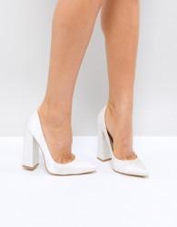 Be Mine Bridal Adeline Ivory Satin Block Heeled Court Shoes - White
