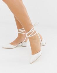 Be Mine Bridal Anya ivory satin mid heeled shoes - White