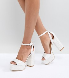 Be Mine Bridal Juniper Glitter Platform Sandals - White