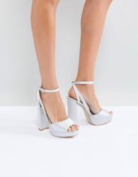 Be Mine Bridal Katia Grey Satin Platform Heeled Sandals - Grey